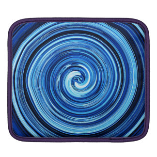 Blue Twirling swirling spiral abstract pattern iPad Sleeve
