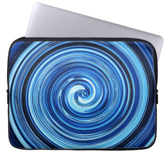Blue Twirling swirling spiral abstract pattern Laptop Sleeve