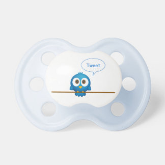 Blue twitter bird cartoon baby pacifier