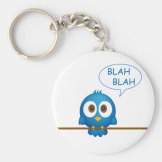 Blue twitter bird cartoon keychain