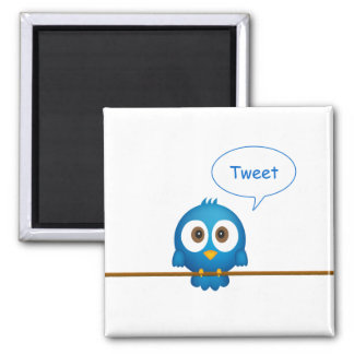 Blue twitter bird cartoon magnet