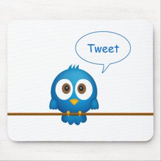 Blue twitter bird cartoon mouse pad