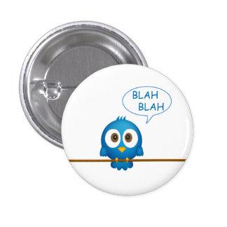 Blue twitter bird cartoon pinback button