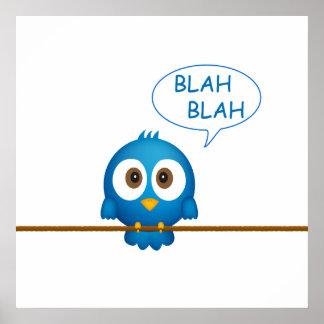 Blue twitter bird cartoon poster
