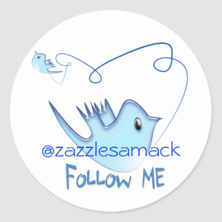 Blue Twitter Bird Follow Me Classic Round Sticker