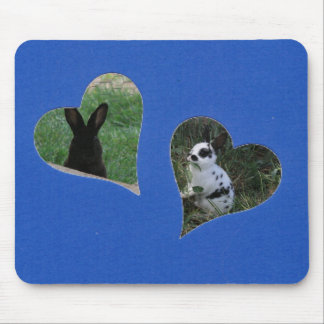 Blue Two Heart Add Photo Frame Mouse Pad