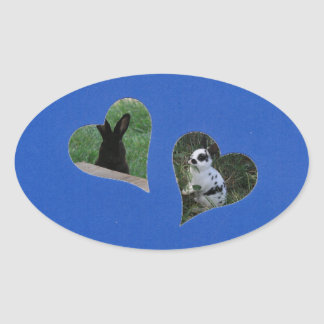Blue Two Heart Frame Oval Sticker