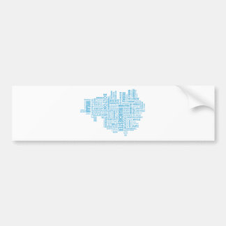 Blue Type map of Greater Manchester Bumper Sticker