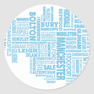 Blue Type map of Greater Manchester Classic Round Sticker