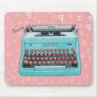 Blue Typewriter on Pink Mousepad