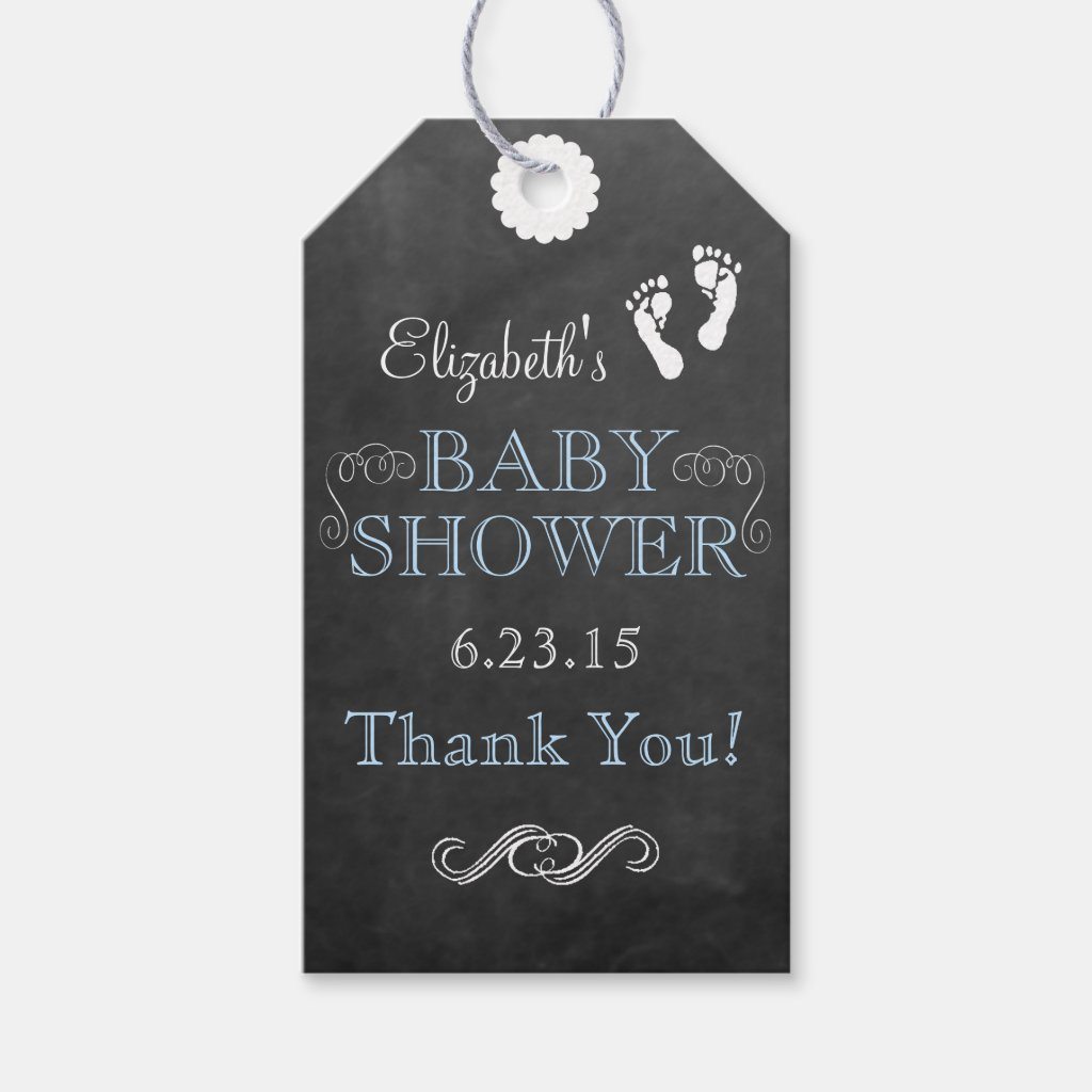 Blue Typograhphy Chalkboard Look Baby Shower Gift Tags
