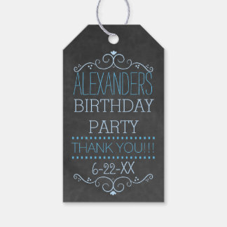 Blue Typography Chalkboard Look- Birthday Party Gift Tags