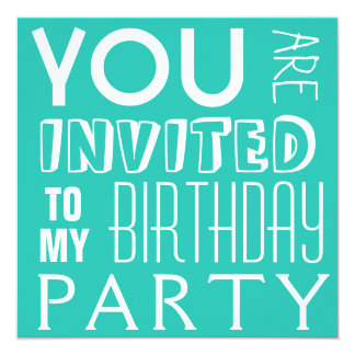 Blue Typography Girl's Birthday Party Text Card