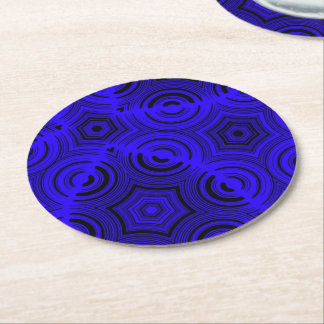 Blue ugly abstract pattern round paper coaster