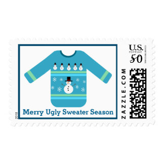 Blue Ugly Christmas Sweater with Snowmen Postage