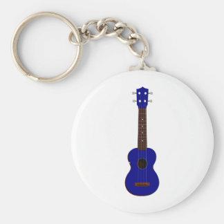 Blue Ukulele design Basic Round Button Keychain