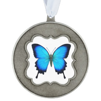 Blue Ulysses Butterfly Pewter Ornament Scalloped Pewter Christmas Ornament