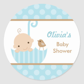 Blue Umbrella Baby Boy Shower Stickers