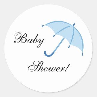 Blue umbrella baby shower envelope stickers