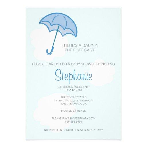 blue umbrella baby shower invitation zazzle