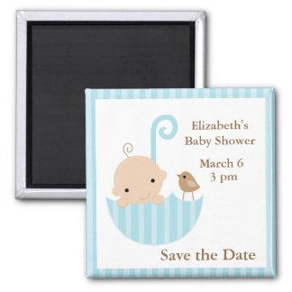 Blue Umbrella Baby Shower Magnet