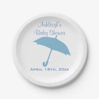 Blue Umbrella Baby Shower Paper Plate
