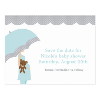 Perfect Blue Umbrella Baby Shower Save The Date Postcard