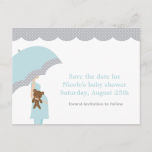 Baby shower save the date cards zazzle blue umbrella baby shower save the date announcement postcard filmwisefo
