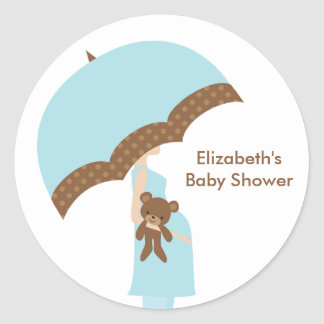 Blue Umbrella Baby Shower Stickers
