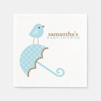 Blue Umbrella Bird Baby Shower Standard Cocktail Napkin