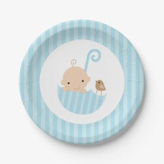 Blue Umbrella Boy Baby Shower Paper Plate