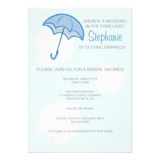 Blue Umbrella Bridal Shower Invitation