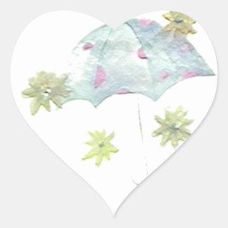 Blue Umbrella Heart Sticker