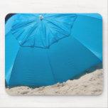 blue umbrella on the beach mouse mat