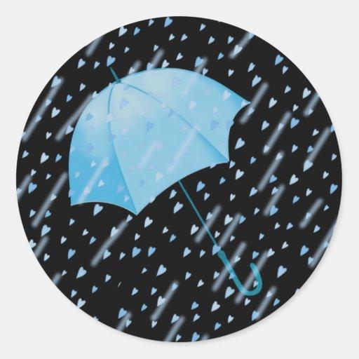 BLUE UMBRELLA SHOWERS OF LOVE by SHARON SHARPE Classic Round Sticker
