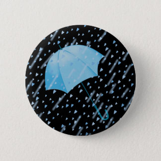 BLUE UMBRELLA SHOWERS OF LOVE by SHARON SHARPE Pinback Button