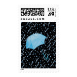 BLUE UMBRELLA SHOWERS OF LOVE by SHARON SHARPE Postage Stamps