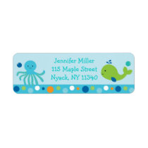 Blue Under The Sea Baby Shower Address Label