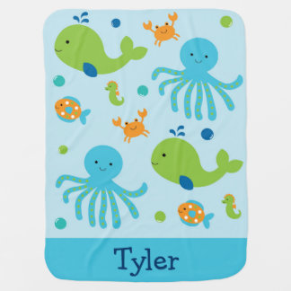 Blue Under The Sea Baby Shower Baby Blanket
