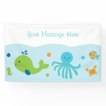 Blue Under The Sea Baby Shower Banner