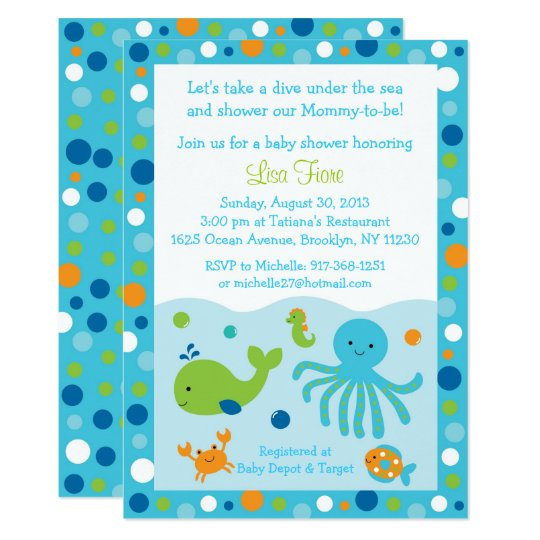 Blue Under The Sea Baby Shower Card