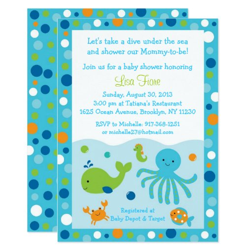 Blue Under the Sea Baby Shower Invitations