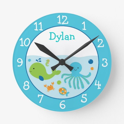 Blue Under The Sea Baby Shower Round Clock