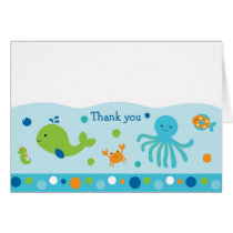 Blue Under the Sea Baby Shower Thank You Card