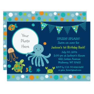 Blue Under the Sea Birthday Card