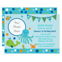 Blue Under the Sea Birthday Invitations