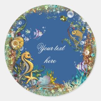 Blue Under the Sea Classic Round Sticker