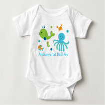 Blue Under The Sea First Birthday Baby Bodysuit