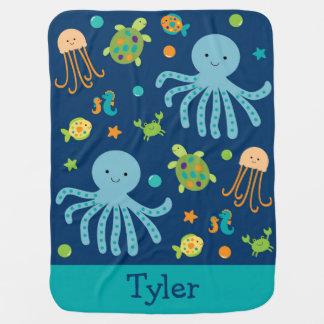 Blue Under The Sea Nursery Receiving Blanket
