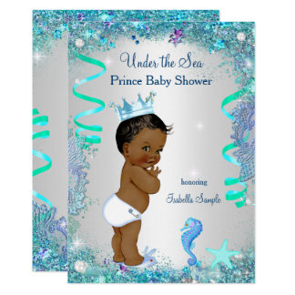 Blue Under The Sea Prince Baby Shower Ethnic Card